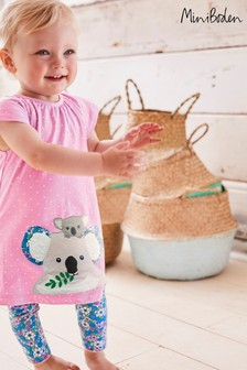 Boden Pink Big Animal Appliqué Dress Set