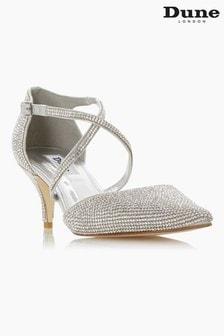 Dune London Captivated Silver Crystal Embellished Kitten Heel Shoes