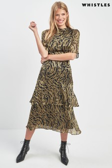 Whistles Black/Gold Reed Dress