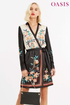 Oasis Black Placement Dress