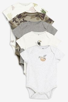 Character Print Short Sleeve Bodysuits Five Pack (0mths-2yrs)
