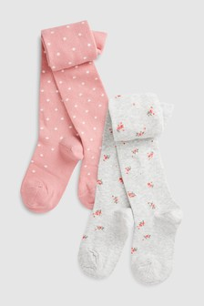 Floral And Spot Tights Two Pack (Older)