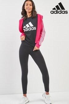 adidas Pink/Black Hoody And Tight Set