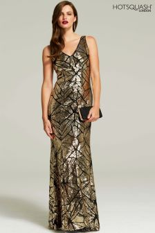 HotSquash Mosaic Gold V-Neck Sequin Maxi Dress