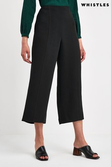 Whistles Black Flat Front Crop Trousers