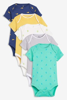 Print & Stripe Short Sleeve Bodysuits Five Pack (0個月至2歲)