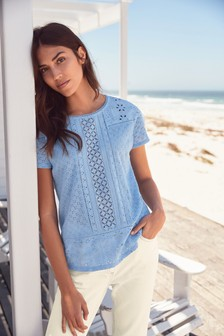 Broderie Front T-Shirt