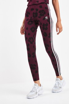 adidas Originals Maroon Leopard 3 Stripe Leggings