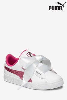Puma® White/Pink Basket Heart Youth Trainer
