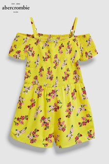 Abercrombie & Fitch Yellow Smocked Jumpsuit