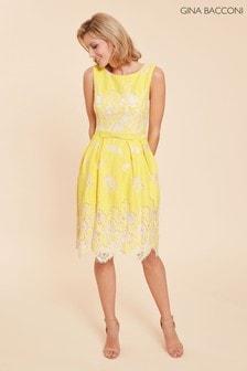 Gina Bacconi Yellow Oline Lace Dress