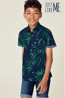 Short Sleeve Leaf Print Shirt (3-16yrs)