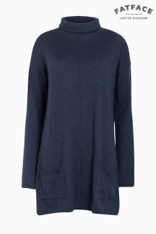FatFace Blue Suzie Swing Roll Neck Jumper