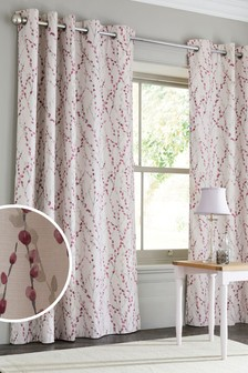 Delicate Willow Print Eyelet Lined Curtains