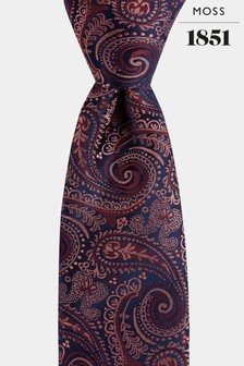 Moss 1851 Berry/Pink Paisley Tie