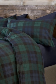 Brushed Cotton Green Check Duvet Cover and Pillowcase Set