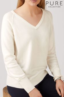 Pure Collection White Raglan Sweater