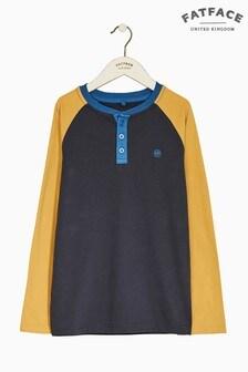 FatFace Blue Plain Henley T-Shirt