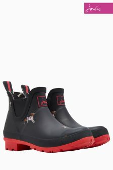 Joules Black Dogs Wellibob Short Welly