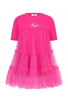 MSGM Girls Pink Cotton Dress