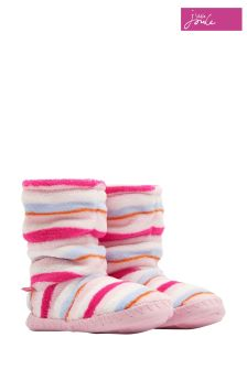 Joules Pink Multi Stripe Fleece Lined Slipper Sock