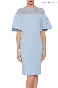 Gina Bacconi Blue Boriana Moss Crepe Dress
