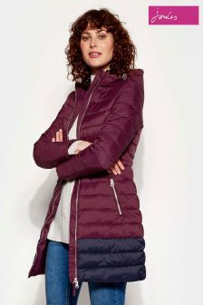 Joules Heathcote Mid Length Colourblock Quilted Coat