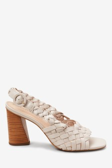 Signature Leather Weave Slingbacks