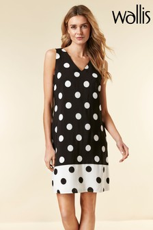 Wallis Black Spot Pinny Dress