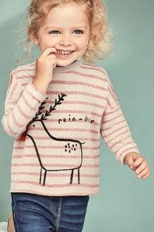 Топ в полоску с рисунком в виде оленя (3 мес.-6 лет)
