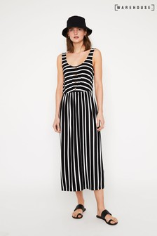 Warehouse Stripe Button Midi Dress