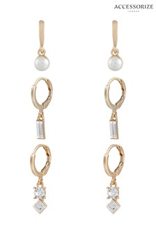 Accessorize Gold Tone Hoop Set With Swarovski® Crystals