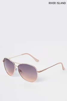 River Island Gold With Brown/Pink Lense Aviator Sunglasses