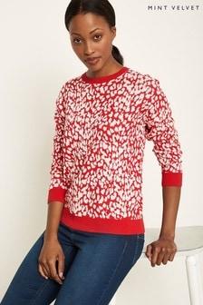 Mint Velvet Animal Leopard Intarsia Knitted Sweat