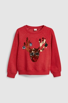 Christmas Flippy Sequin Reindeer Crew (3-16yrs)