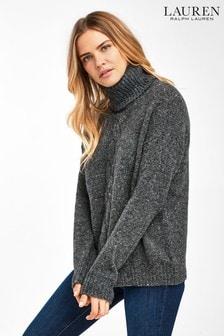 סוודר עם צווארון מתגלגל של Lauren Ralph Lauren® דגם Polla באפור מלאנז'