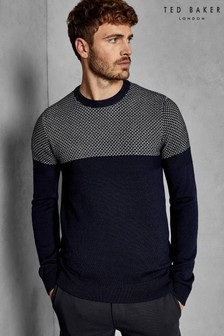 70fd5ffc6511ad Ted Baker Navy Yeting Stitch Crew Jumper