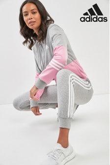 Серый спортивный костюм с тремя полосками и розовой отделкой adidas