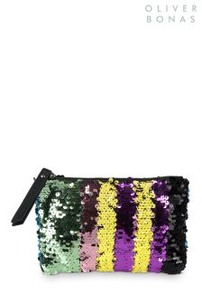 Oliver Bonas Metallic Rainbow Line Sequin Pouch Bag