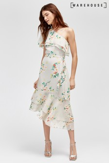 Warehouse Blossom Floral One Shoulder Ruffle Dress