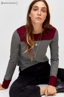 Warehouse Black Ecru Contrast Cuff Stripe Top
