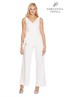 Adrianna Papell Ivory Knit Crepe Jumpsuit