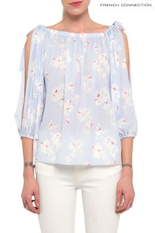French Connection Pale Blue Verona Crepe Light Bardot Top