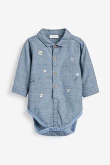 Вельветовая рубашка-боди с вышивкой (0 мес. - 2 лет)