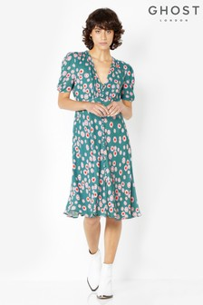Ghost London Blue Printed Sabrina Tea Dress
