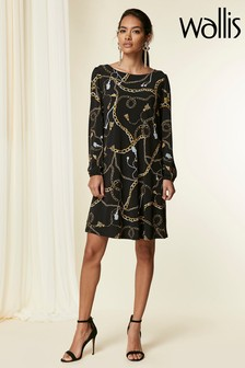 Wallis Black Chain Print Jersey Swing Dress
