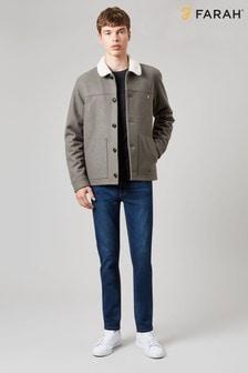 Jachetă Farah Dunkeld din lână cu guler din fleece