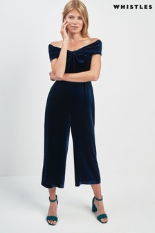 Whistles Blue Velvet Jumpsuit