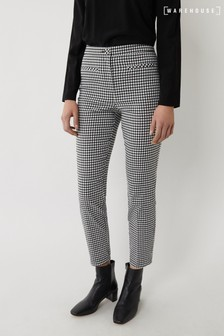 Warehouse Black Gingham Slim Leg Trousers