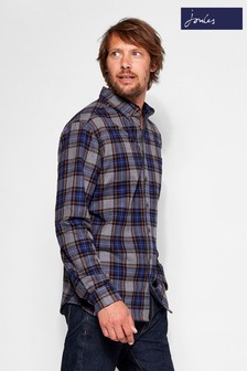 Joules Blue Tartan Brushed Classic Fit Shirt